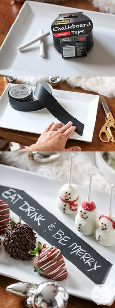 Add a chalkboard label to your serveware to write out a merry message or label your sweet treats! The best part? The tape peels right off when you're done! #12days72ideas