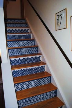 These are beautiful hand-painted steps. I bet you could do this simply with stencils. I love it!