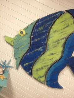 Wood School of Fish Art Panel Sign Wall Decor Vertical Driftwood ...