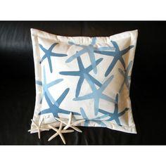 Blue Starfish Beach House Pillow