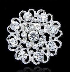 Silver Tone Heart And Flower Rhinestone Diamante Pin Brooch Wedding 10eacfba0a2e
