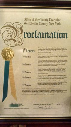 Westchester County, NY - County Executive's proclamation recognizing Diaper Need Awareness Week (Sept. 28 - Oct. 4, 2015) #DiaperNeed www.diaperneed.org