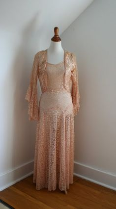 1930s two piece peach lace gown and bolero