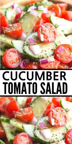 Easy Cucumber Tomato Salad made with fresh herbs, and healthy ingredients! Easy Greek Style side salad and a vinegar dressing for all those Mediterranean flavors you love! recipe is gluten free, clean eating, Paleo, Whole 30. www.noshtastic.com Tomato Salad Recipes, Side Salad Recipes, Cucumber Tomato Salad, Salad Dressing Recipes, Healthy Salad Recipes, Side Dish Recipes, Vegetarian Salad, Recipes Dinner, Dinner Ideas