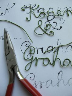 making wire lettering    Posted on June 15, 2010  by  Salley Mavor          Update: See other banners with wrapped wire lettering here. Visit my Etsy Shop.  This summer I've been invited to two weddings, with the first being held on June 25th on Cape Cod. Both the bride and groom are  designers and I thought they would like something artsy and personal for a wedding gift.    I started by writing out Karen & Graham in a flowing script and then enlarging it to a lower case…