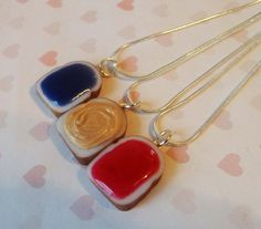 grape strawberry and peanut butter set of three best friend necklaces. works for me and my friends instead of the 2 rings