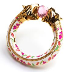 Royal Bengal Amulet<br />Sterling Silver with 18k Yellow Gold plating, Enamel & Pink heart crystal