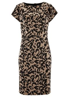 Vestido tubinho estampado marrom manga curta com decote redondo