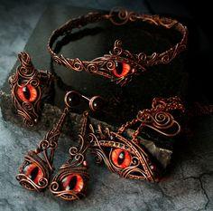 Red Dragon Eye Jewelry Set by Bodza