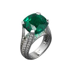 Cartier High Jewelry ring Platinum, one 12.16 carat cushion-shaped emerald from Colombia, brilliants.