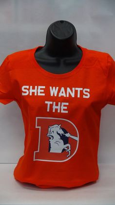 Denver Broncos Vintage women or men super bowl logo t-shirt / Hoodie She Wants The -D on Etsy, $15.99