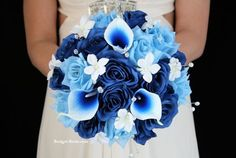 Blue Wedding Flowers Royal Blue and Light Blue Wedding Flower Package accented with crystals, stephanotis and blue picasso calla lilies Wedding Flower Packages, Blue Wedding Flowers, Wedding Colors, Tangerine Wedding, Our Wedding, Dream Wedding, Wedding Stuff, Wedding Dress, Flower Packaging