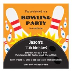 Shop Bowling party invitation with bowling ball, blue created by TheStationeryShop. Bowling Party Invitations, Kids Birthday Party Invitations, Boy Birthday Parties, Girl Birthday, Birthday Ideas, Kid Parties, Birthday Cards, Bowling Ball, Bowling Pins