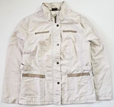e46d978b152 Allison Daley Womens Jacket Light Weight Windbreaker Pin Striped Beige 16   AllisonDaley  Windbreaker