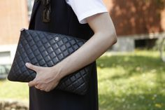 Could this be the perfect sized portfolio clutch? Oh and its @CHANEL, too! Even better. WGSN Street Shot, Milan Mens Fashion Week, Spring/Summer 2014