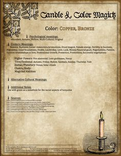 ☆ Candle Magic: Copper or the color 0f Bronze ☆