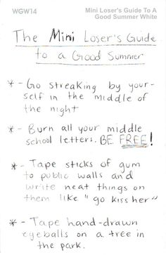 A mini Loser's Guide to a good summer
