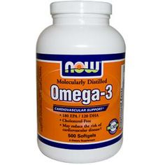 Now Foods, Omega-3, Molecularly Distilled, Cholesterol Free, 500 Softgels - iHerb.com. Bruk gjerne rabattkoden min (CEC956) hvis du vil handle på iHerb for første gang. Da får du $5 i rabatt på din første ordre (eller $10 om du handler for over $40), og jeg blir kjempeglad, siden jeg får poeng som jeg kan handle for på iHerb. :-)