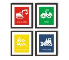 Construction Nursery Art Prints - Choose Colors, Modern Kids Wall Art - Excavator, Bulldozer, Toddler Boys Room Decor, Playroom Decor