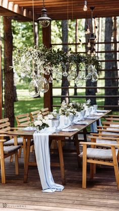 Outdoor wedding table with baby blue runner on top with modern decorations Outdoor Wedding Tables, Outdoor Wedding Centerpieces, Outdoor Wedding Decorations, Baby Shower Decorations, Wedding Ceremony, Table Decorations, Baby Blue Weddings, Wedding Styles, Wedding Ideas