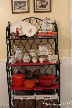 Decorating a Bakers Rack Bakers Rack Kitchen, Diy Kitchen Storage, Bakers Rack Decorating, Decorating Blogs, Comfy Cozy Home, Grape Kitchen Decor, French Country Kitchens, Room Accessories, Updated Kitchen