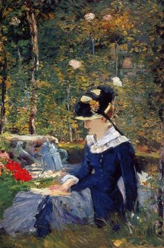Artist: Edouard Manet, 1832-1883  French Master Realism and Impressionism Artist.   Active Years: 1849 - 1883. Field: painting, printmaking.   Title: Young woman in the garden  Completion Date: 1880  Place of Creation: Paris, France  Style: Impressionism  Genre: genre painting  Technique: oil  Material: canvas  Gallery: Private Collection, from Iryna