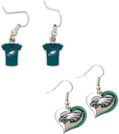 Philadelphia Eagles Jersey and Swirl Heart Earrings -Fast and free shipping in the USA