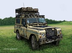 Series III Land Rover at Newark. Greetings card for sale at Art Rookie.
