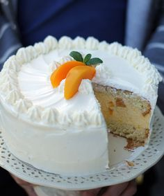 Cream cake with peach mousse .- Tort śmietankowy z musem brzoskwiniowym… Cream cake with peach mousse … - Polish Desserts, Polish Recipes, Polish Food, Baby Food Recipes, Sweet Recipes, Cake Recipes, Pastry Recipes, Cooking Recipes, Peach Mousse