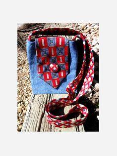 Upcycled Necktie Jeans Purse Bohemian Boho by SomeKindahWonderful