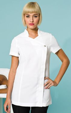 This is our 'Blossom' beauty and spa tunic and it's available in black and white. Short sleeves offer practicality in a spa environment. Beauty Tunics, Beauty Uniforms, Plus And Minus, Princess Seam, Mandarin Collar, Work Wear, Chef Jackets, Spa, Trousers