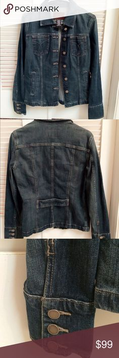 Calvin Klein denim jacket In excellent used condition.  No signs of wear.  Been stored in my closet.  Final sale.  Medium Calvin Klein Jackets & Coats Jean Jackets