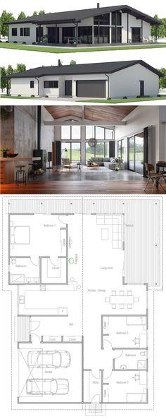 Architecture, House Designs, Home Plans, Dream House Plans, Modern House Plans, Small House Plans, House Floor Plans, Minimal House Design, Modern Small House Design, Design Home Plans, Three Bedroom House Plan, Spanish House