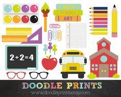 School Clipart - Back to School - School Supplies Digital Scrapbook Clip Art Printable - Personal and Commercial Use - Instant Download