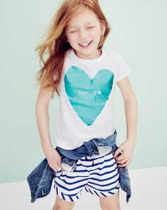 J.Crew girls' big foil heart tee, washed denim jacket and piped pull-on short in switched-up stripe. To pre-order, call 800 261 7422 or email verypersonalstylist@jcrew.com.
