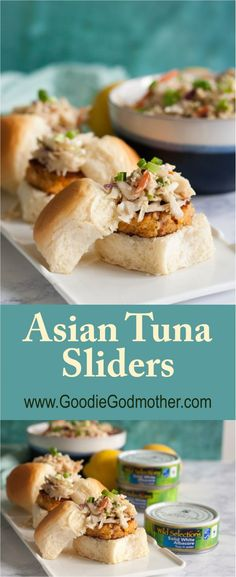 These creative Asian tuna sliders are easy and so addicting! They're ready in minutes and topped with a tasty creamy Asian slaw. Asian Coleslaw, Asian Slaw, Easy Sandwich Recipes, Appetizer Recipes, Appetizers, Sushi Recipes, Appetizer Ideas, Entree Recipes, Vegetarian Recipes