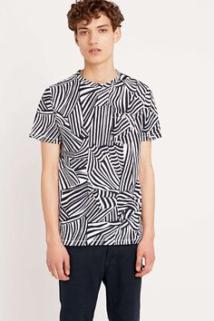 Shore Leave by Urban Outfitters Hector Zebra Print Tee in Navy - Urban Outfitters