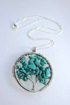 Turquoise Wire Tree Necklace