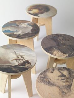 The most recognisable paintings from the art collection of Amsterdam's Rijksmuseum are printed onto the seats of these plywood stools by Dutch designer Piet Hein Eek.
