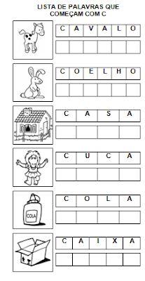 Lista de palavras CA CO CU Gabriel, 1, Nova, Letter C Activities, Preschool Literacy Activities, Language Activities, Kids Learning Activities, Infant Activities, Writing