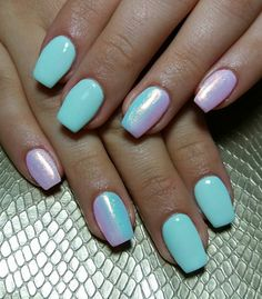 Nails Gel Blue Pink Glitter Mermaid