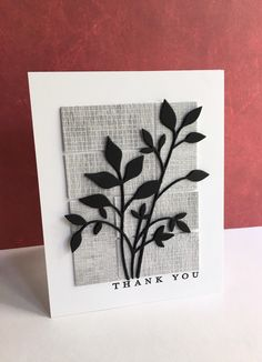 Thank you card made an old Memory Box die , Fresh Foliage, a My Favorite Things background die, and Papertrey Ink sentiment. Memory Box Cards, Memories Box, Leaf Cards, Beautiful Handmade Cards, Paper Cards, Men's Cards, Get Well Cards, Card Sketches, Masculine Cards