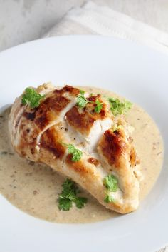 """Pistachio-Stuffed Chicken Breasts with Parmesan Cream Sauce ~ from """"Hungry for France"""" by Alexander Lobrano"""