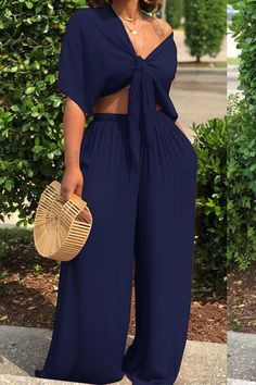 Shyfull Casual Deep V Neck Loose Dark Blue Two-piece Pants Set Classy Outfits, Chic Outfits, Summer Outfits, Fashion Outfits, Ladies Outfits, Travel Outfits, Fashion Clothes, Trendy Outfits, Look Fashion