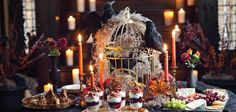 Alfred Hitchcock would be proud of this vintage and elegant Halloween soirée that takes decorative inspiration from his classic movie The Birds.
