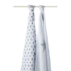"""Lot de deux langes """"Twinkle Etoile gris"""" (120 x 120 cm)... #lange #bébé #langer #Aden&Anaïs #maxilange #bavoirs #langebébé"""