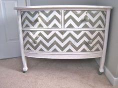 Chevron Painted Dresser ~ DIY