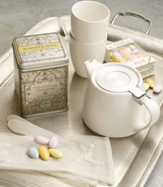 Wedding Tea Gift - An elegant gift for that special couple getting married or celebrating an anniversary. This gift box includes a White Stump teapot and two matching 7 oz cups. An elegant tin of our Wedding Tea: 20 silken sachets of flavorful & aromatic white tea with rosebuds and vanilla, will guarantee that the happy couple can enjoy numerous tea times together. Included in the gift is a box of pastel colored Almond Dragee candy (4.55 oz), a traditional wedding favor from France.
