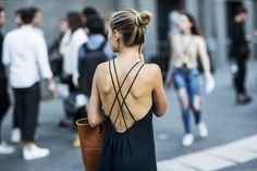 Strappy back with a bun.