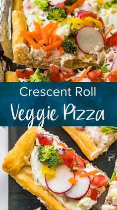 This tasty, crescent roll veggie pizza recipe is fun and easy to make at home. It's loaded with fresh veggies and cream cheese. Serve this as a meal or a delicious appetizer. #pizza #vegetablepizza #crescentroll #easydinnerrecipe #freshveggies #quickpizza Pizza Appetizers, Yummy Appetizers, Appetizer Recipes, Crescent Roll Veggie Pizza, Crescent Rolls, Pizza Recipes, Easy Dinner Recipes, Vegetarian Recipes, Creamy Spinach Dip
